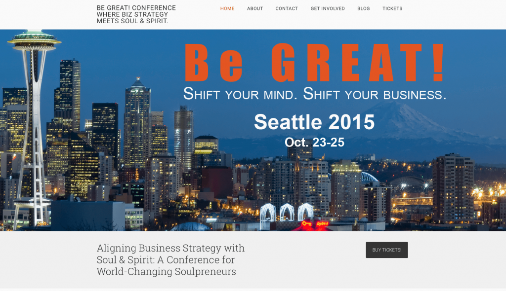 Be Great Conference - Built on WordPress using the Genesis Framework